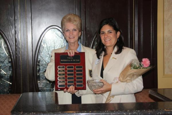 Pro of the Year award presented to Nikki Gatch by WSCGA President, Jody Nickel — at Glendora Country Club.